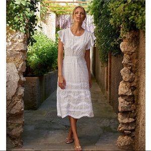 Melissa Obadash Louisa Embroidered Midi Dress